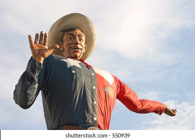 Big Tex, the gigantic mascot of the State Fair of Texas in Dallas, Texas.