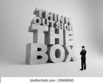 big think outside the box and businessman