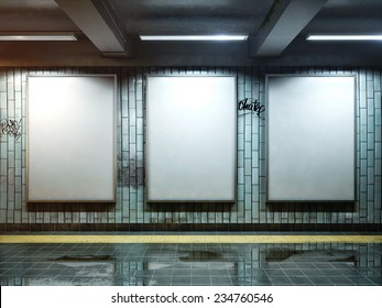 big three vertical poster on metro station
