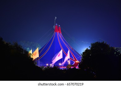 Big Top and flags at the Isle of Wight Music Festival in Newport, England.