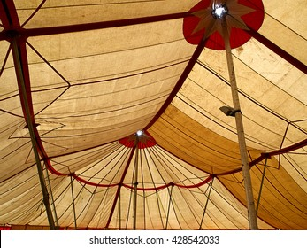 Big top traditional circus tent viewed from the inside