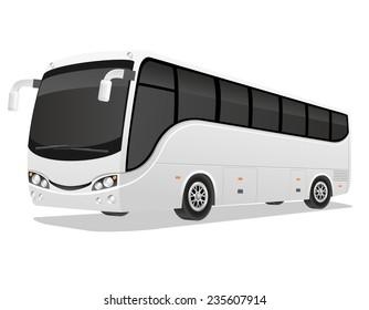 big tour bus illustration isolated on white background