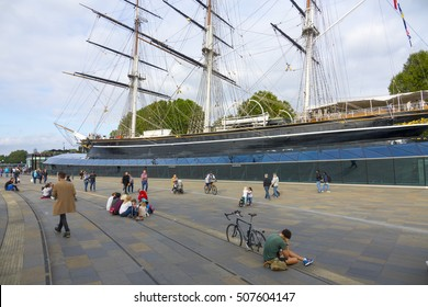 Big tourist attraction at London Greenwich - The Cutty Sark - LONDON / ENGLAND - SEPTEMBER 23, 2016