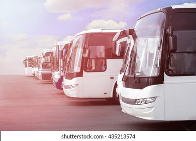 big tourist buses on parking