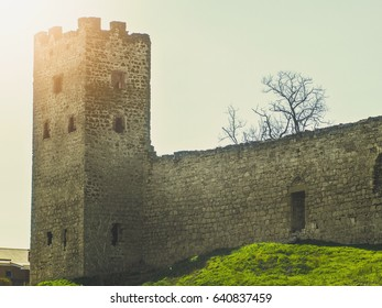 Big tower and the wall of Genoese fortress in Feodosia