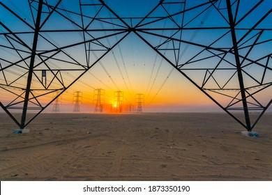 Big Transmission Electrical Post Desert