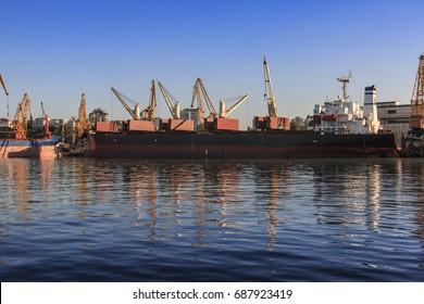Big transport ship in Odessa trade port, Ukraine
