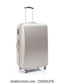 Big travel suitcase on wheels isolated white