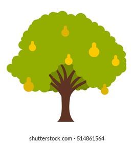 Big tree with fruit icon. Flat illustration of big tree with fruit  icon for web