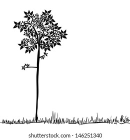 Big tree icon silhouette over isolated background.