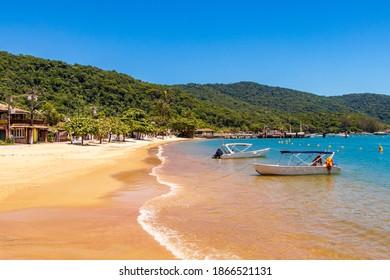 The big tropical island Ilha Grande Abraao beach in Angra dos Reis, Rio de Janeiro, Brazil.