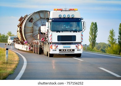 Big truck with heavy load on the road
