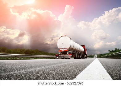 Big truck on the european highway with the fuel