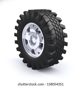 Big truck wheel isolated on white background
