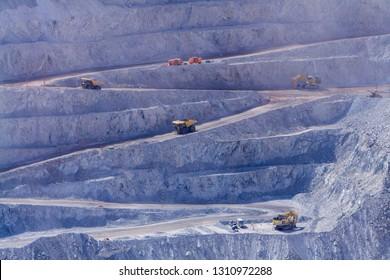 Big trucks and machinery at Chuquicamata