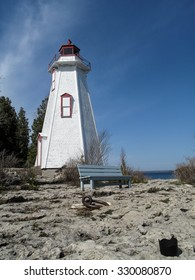 Big Tub  lighthouse in Tobermory along coastline of Bruce Peninsula National Park. Tobermory is a small community located at the northern tip of Bruce Peninsula,Ontario, Canada