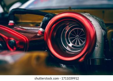 A big turbo on a racing car