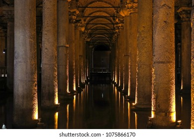 The big underground water reservoir, Yerebatan Cistern or Basilica Cistern. Build by Emperor Justinianus in 6th century. Istanbul, Turkey.