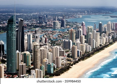 Big urban city with tall skyscapers located on a coast in Queensland, Australia