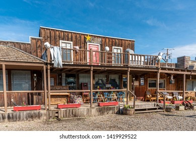 Big Valley, Alberta - June 8, 2018: The Jimmy Jock Boardwalk is named after a Chinese restaurateur, Jimmy Jock, who ran a restaurant on the site.  Today it houses many unique little shops and displays