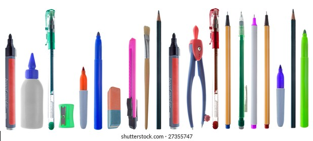 A big variety of colorful school supplies. Isolated in white.
