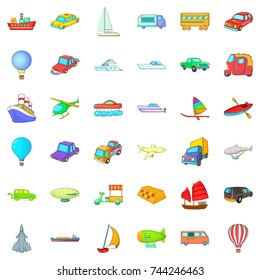 Big vehicle icons set. Cartoon style of 36 big vehicle  icons for web isolated on white background