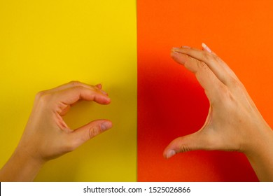 Big vs small. Two hand showing small and big gesture