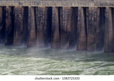 Big wall and water in hydroeletric