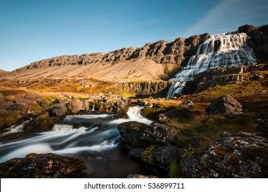 Big waterfall Dynjandi in Icelandic Westfjords