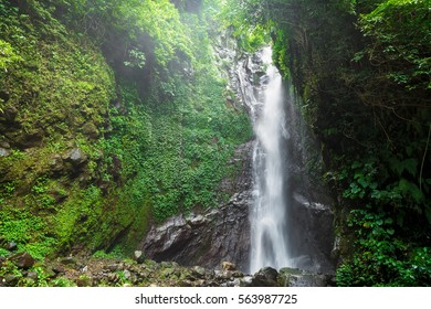 Big waterfall in forest on Bali.