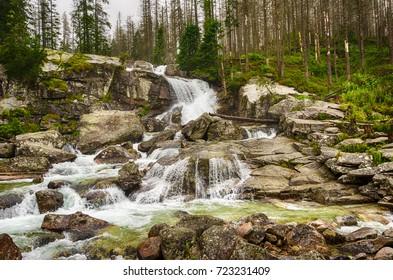 Big waterfall on cold creek, Cold creek valley, High Tatry, Slovakia