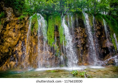 big waterfalls in Plitvice Lakes National Park, Croatia. Plitvice Lakes National Park