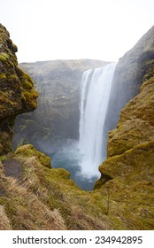big waterfalls right by ring road in iceland