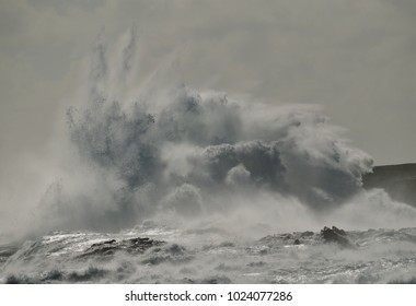 Big wave breaking against the rocks, coast of Gran canaria, Canary islands