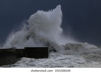 Big wave during a storm in Porto, Portugal
