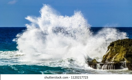 Big wave hit the rocks. Dominican Republic.