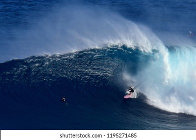 Big wave surfing at Peahi, located on Maui.