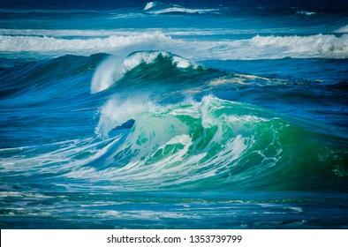 Big Waves. Full frame ocean. Roaring forties winds create large waves on Tasmania's wild west coast. Sea water background.