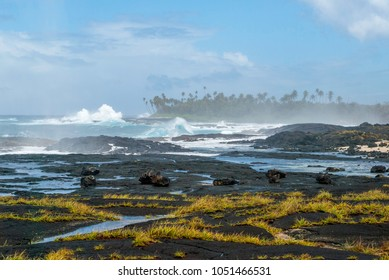 Big waves and lava field