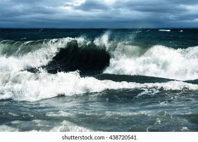 Big Waves Raised by Storm Breaking at Shore