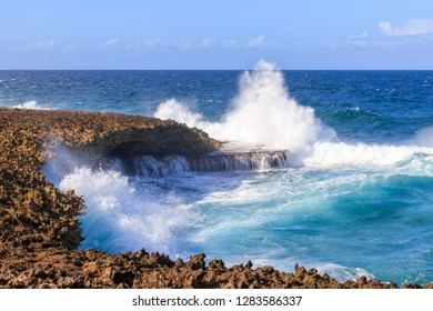 Big Waves At Shete Boka National Park In Curacao