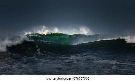 big waves with a stormy weather