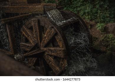 Grosses, von grünen Pflanzen und Wasser umschlossenes Waterrad.