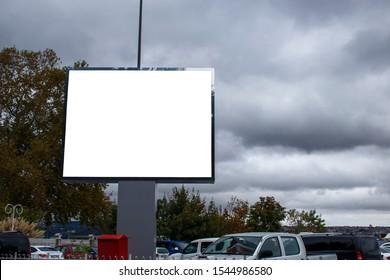 Big white advertising sign close-up.