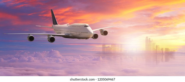 Big white airplane is flying over the clouds with colorful sky at sunset for Business trip with Commercial plane , Transportation, import-export and logistics, Travel concept
