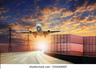 Big white airplane is flying over the clouds with colorful sky at sunset for Business trip with Commercial plane, Transportation, import-export and logistics, Travel concept