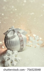 Big white Bauble On The Snow