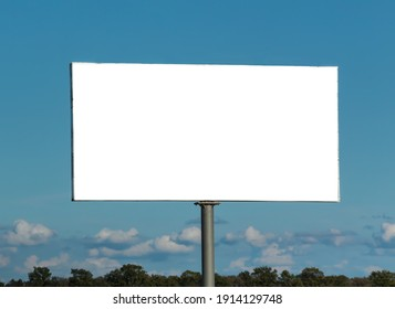 Big white billboard on the background of the sky close up
