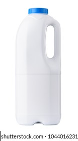Big white blank plastic milk bottle with blue cap clean new closed isolated on white background
