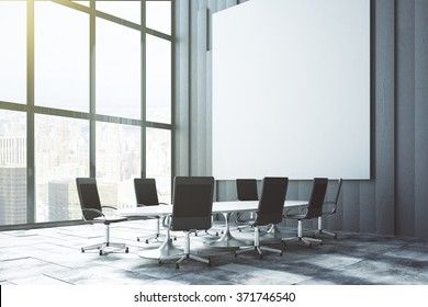 Big white blank poster on the wall in loft conference room at sunrise, mock up 3D Render